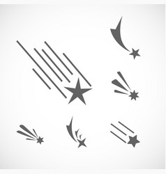 falling star icon set set of different star icons vector image vector image