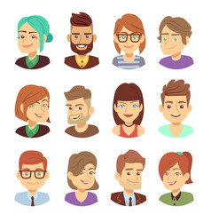 happy characters young man and woman vector image vector image