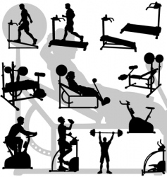 male exercise silhouettes vector image vector image