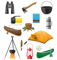 set icons items for outdoor recreation vector image vector image