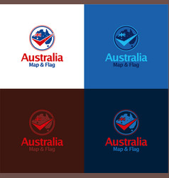 australia map and flag vector image