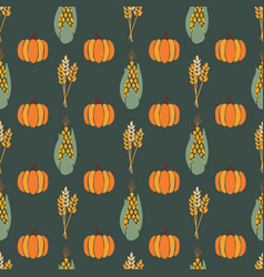 Autumn corn plant crop and pumpkins on dark green vector