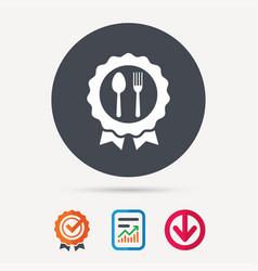 award medal icon food winner emblem sign vector image