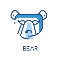 bear logo design blue label badge or emblem vector image