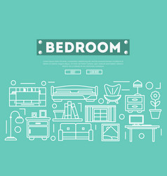 Bedroom decoration poster in linear style vector