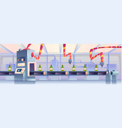Bottles on conveyor belt at factory automation vector