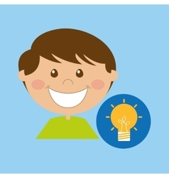 Boy cartoon school idea icon design vector