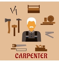 Carpenter with timber and professional tools vector image