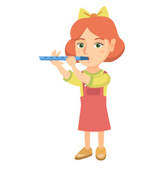 Caucasian little girl playing the flute vector