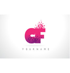 Cf c f letter logo with pink purple color and vector