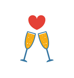 Champagne icon simple flat element from honeymoon vector