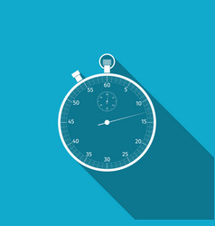 classic stopwatch icon isolated with long shadow vector image