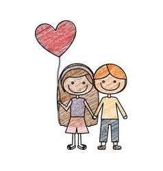 color pencil drawing of caricature of couple kids vector image