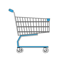 Color silhouette image shopping cart of vector