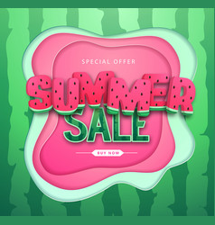 colorful summer big sale poster with watermelon vector image