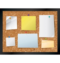 Corkboard Bulletin Board and Pinned Notes vector