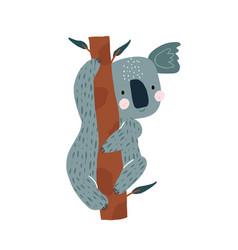 cute koala hanging on a tree cartoon koala bear vector image