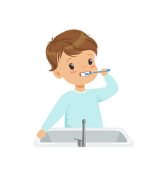 cute little boy brushing his teeth kid caring for vector image