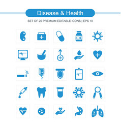 Diesease and health icons set blue vector
