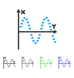 dotted sine plot flat icon vector image
