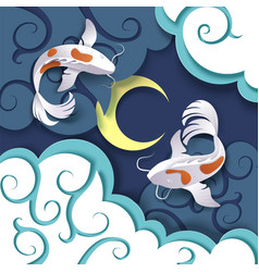 Dreaming catfish couple paper cut vector