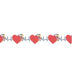 ekg hearts seamless border red hearts vector image