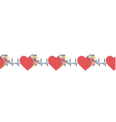 Ekg hearts seamless border red hearts with vector