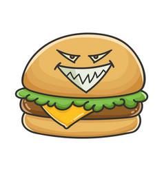 Evil cheese burger cartoon vector