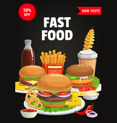 fast food menu cover burgers and snacks vector image