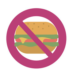 fast food prohibited sign vector image