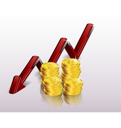 Financial concept declining graph vector image