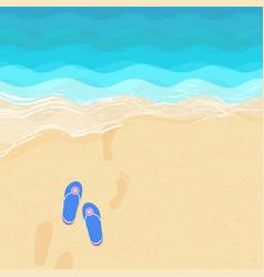 Flip flops and footsteps on sand vector