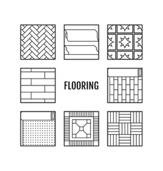 Flooring flat icons laminate parquet carpets vector