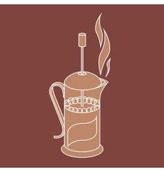 french press brown colors vector image