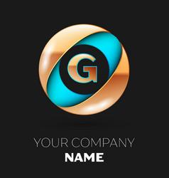 golden letter g logo symbol in blue-golden circle vector image