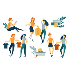 Group of people shopping purchases clothes and vector