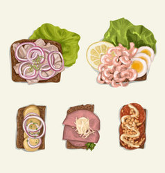 Hand drawn sandwich set vector