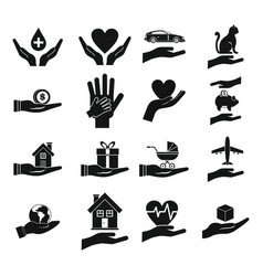 hand protect icon set simple style vector image