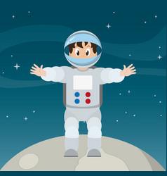 Happy astronaut man in moon over space vector