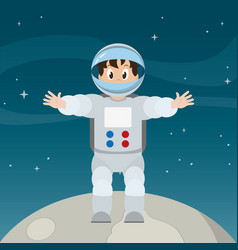Happy astronaut man in the moon over space vector