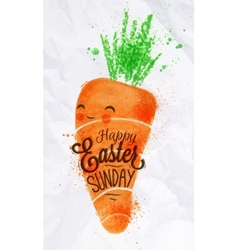 Happy easter carrot poster vector image