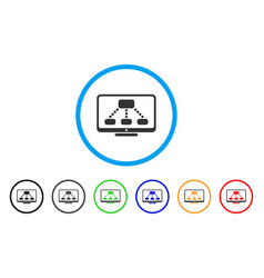 hierarchy monitor rounded icon vector image