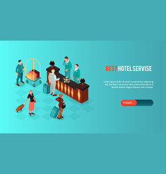 hotel service isometric banner vector image