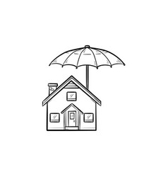 house insurance hand drawn outline doodle icon vector image