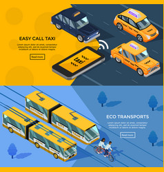 isometric transport horizontal banners vector image