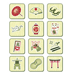 Japanese icons bamboo series vector