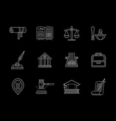 Juridical and legal flat line icons set vector