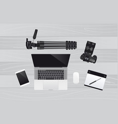 laptop with mouse graphic tablet camera vector image