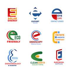 letter e compositions design vector image