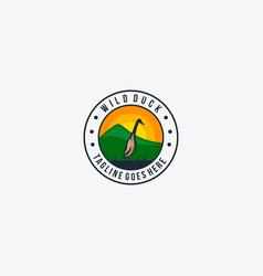 Logo duck pose landscape vintage badge vector
